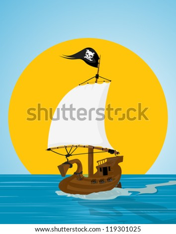 Illustration of a pirate ship sailing the see - stock vector