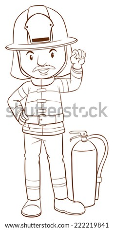 Illustration of a plain sketch of a fireman on a white background  - stock vector