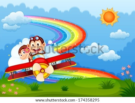 Illustration of a plane with two boastful monkeys and a rainbow in the sky - stock vector