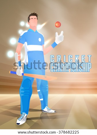 Illustration of a Player holding bat and ball on night stadium light background for Cricket Championship concept. - stock vector