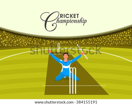 Illustration of a player in winning pose on stadium background for Cricket Championship concept. - stock vector
