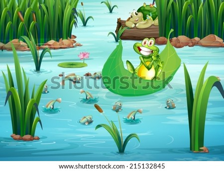 Illustration of a playful frog and a turtle at the pond - stock vector