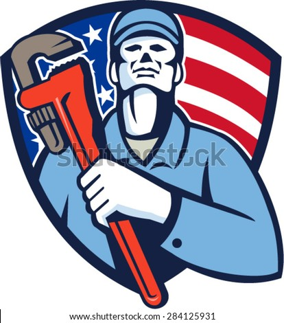 Illustration of a plumber holding monkey wrench on chest looking up viewed from front side set inside shield crest with usa american flag in the background done in retro style.