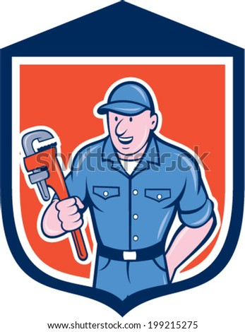 Illustration of a plumber holding monkey wrench set inside shield crest done in cartoon style on isolated background.