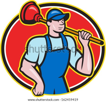 Illustration of a plumber holding plunger set inside oval done in cartoon style on isolated background.