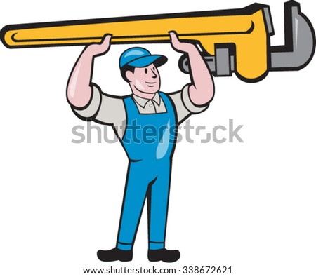 Illustration of a plumber in overalls and hat lifting giant monkey wrench over head looking to the side viewed from front set on isolated white background done in cartoon style.