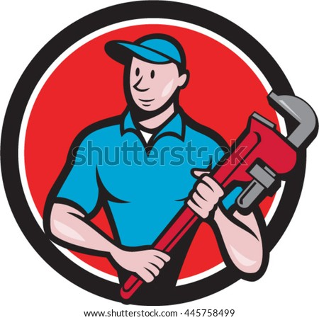 Illustration of a plumber in overalls and hat standing looking to the side holding monkey wrench viewed from front set inside circle on isolated background done in cartoon style. - stock vector