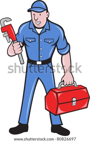 illustration of a plumber repairman tradesman holding monkey wrench and toolbox standing on isolated background done in cartoon style.