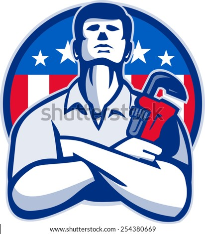 Illustration of a plumber tradesman handyman worker with arms crossed holding a monkey wrench facing front set inside circle  with American stars and stripes flag done in retro style. - stock vector