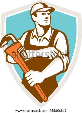 Illustration of a plumber wearing hat holding monkey wrench rolling sleeve looking to the side set inside shield crest on isolated background done in retro style. - stock vector