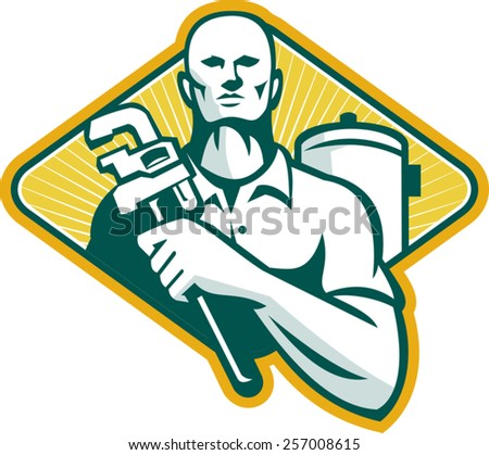 Illustration of a plumber with adjustable monkey wrench and hot water cylinder system set inside diamond shape done in retro style. - stock vector
