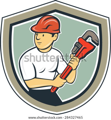 Illustration of a plumber with hardhat holding monkey wrench looking to the side set inside shield crest on isolated background done in cartoon style. - stock vector