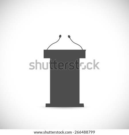Illustration of a podium silhouette isolated on a white background. - stock vector