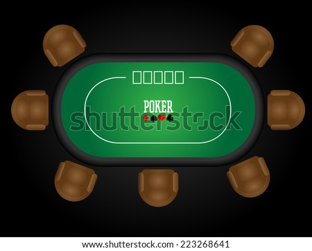 Illustration of a poker table - stock vector