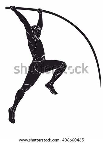 illustration of a pole vaulter. black and white drawing on a white background
