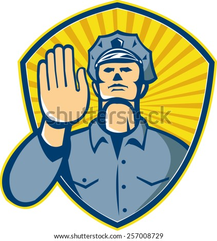 Illustration of a policeman police law enforcement officer with hands signalling stop set inside shield done in retro style. - stock vector