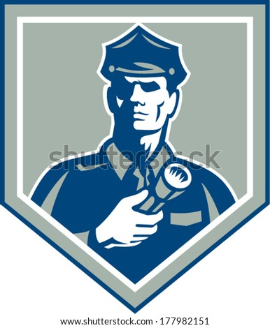 Illustration of a policeman security guard police officer holding flashlight torch set inside shield crest on isolated background done in retro style. - stock vector