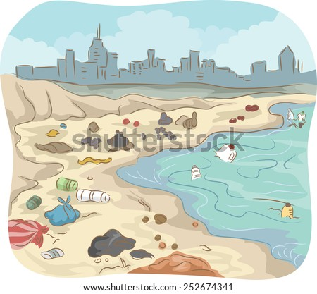 Illustration of a Polluted Shore Littered With All Sorts of Trash - stock vector