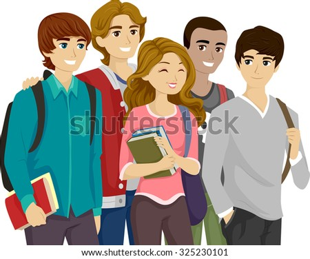Illustration of a Popular Girl Surrounded by Teenage Guys - stock vector