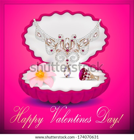 illustration of a postcard on Valentines day with a necklace ring flower and a - stock vector