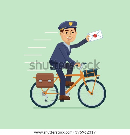 Illustration Postman Riding Bicycle Delivering Mail Stock ...