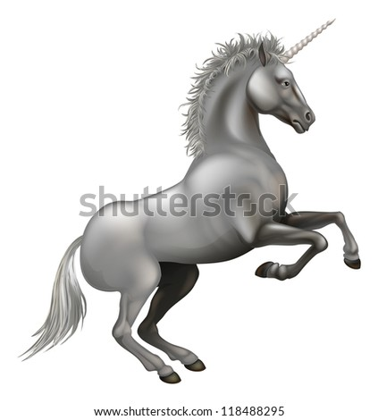 Illustration of a powerful unicorn rearing on its hind legs - stock vector