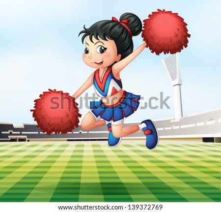 Illustration of a pretty and energetic cheerdancer - stock vector