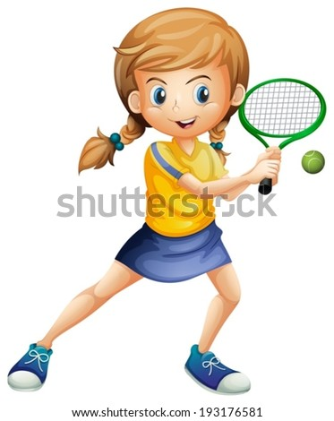 Illustration of a pretty lady playing tennis on a white background - stock vector
