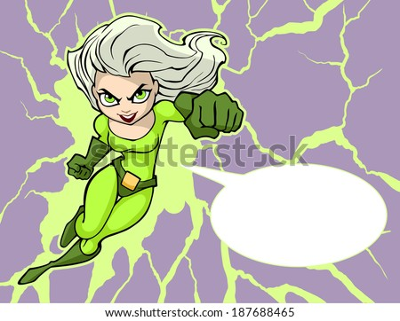 Illustration of a pretty super girl in bright costume flying forward - stock vector