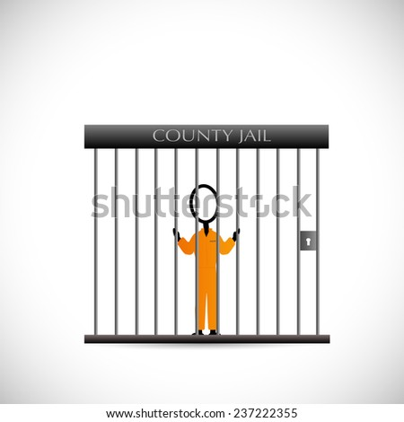 Illustration of a prisoner inside of a jail isolated on a white background. - stock vector