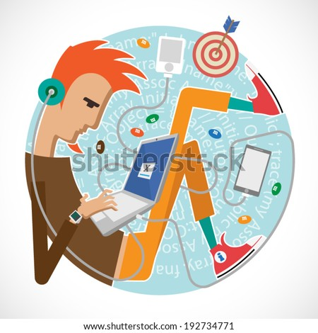 Illustration of a programmer, a young art director, creatives. Infographics for presentations, reports in the style of a flat design. Bring Yout Own Device - stock vector