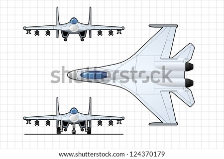 illustration of a pursuit plane.  Simple gradients only - no gradient mesh. - stock vector