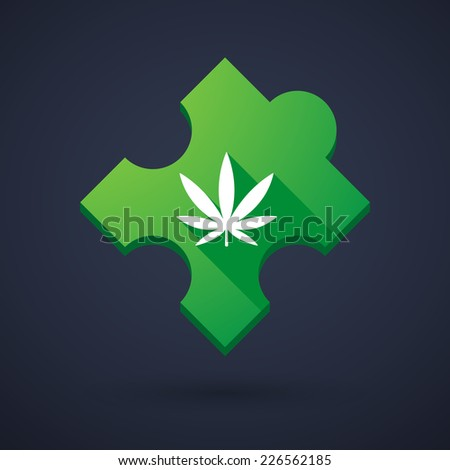 Illustration of a puzzle piece icon with a marijuana leaf - stock vector