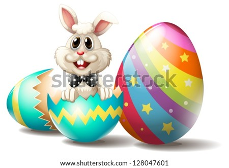 Illustration of a rabbit inside a cracked easter egg on a white background - stock vector