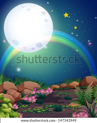 Illustration of a rainbow during nighttime - stock vector