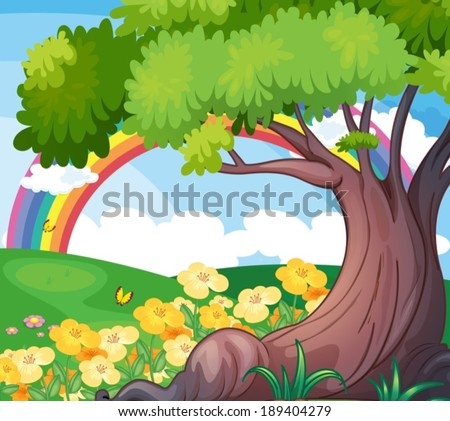 Illustration of a rainbow in the sky and the beautiful flowers - stock vector