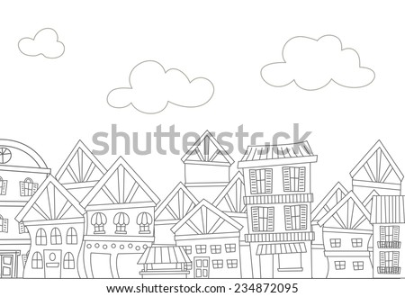 Illustration of a Ready to Print Coloring Page Featuring  a Row of Apartments - stock vector