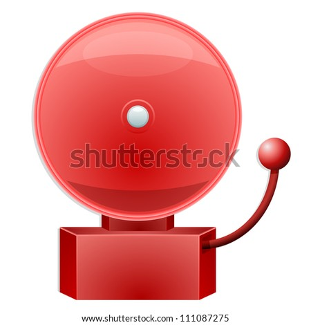 illustration of a red alarm bell - stock vector