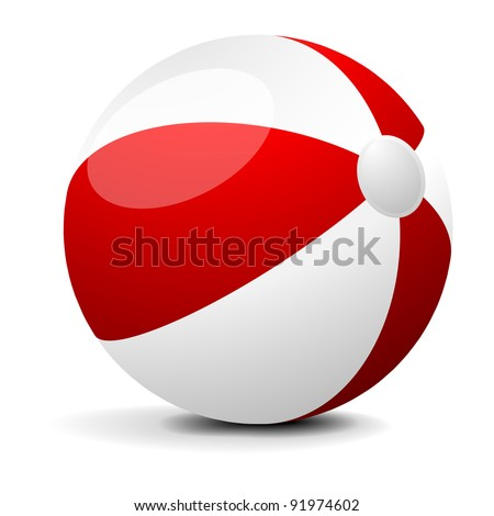 illustration of a red and white beach ball, eps 8 vector - stock vector