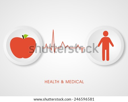 Illustration of a red apple and a human body connected with heart beat with stylish health and medical text. - stock vector