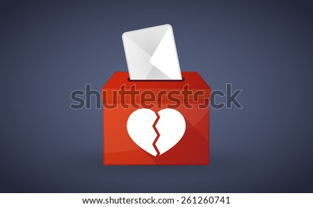 Illustration of a red ballot box with a broken heart - stock vector