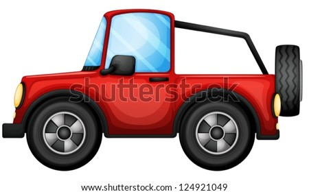 Illustration of a red car on a white background - stock vector