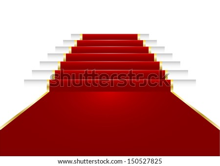 illustration of a red carpet on staircase - stock vector
