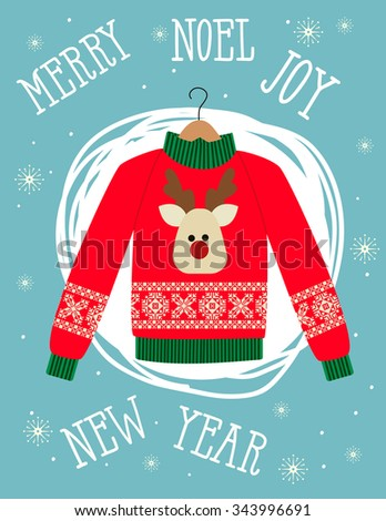 illustration of a red Christmas sweater with deer.Funny holiday background. Bright Christmas card. - stock vector