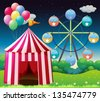 Illustration of a red circus tent with balloons - stock vector