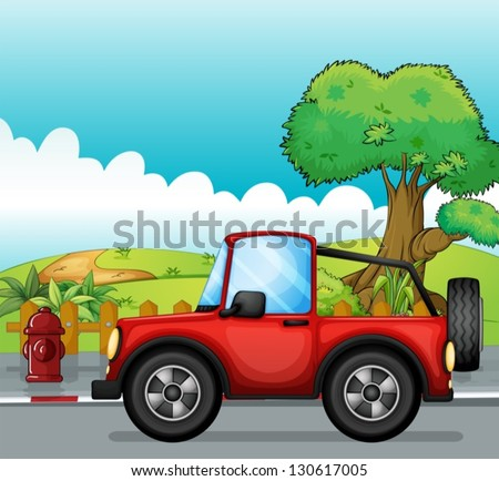 Illustration of a red jeep at the street