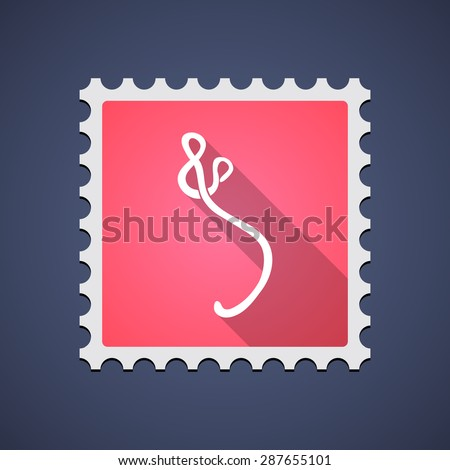 Illustration of a red mail stamp icon with an ebola sign - stock vector