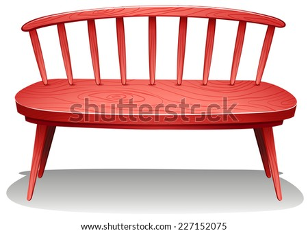Illustration of a red wooden furniture on a white background   - stock vector