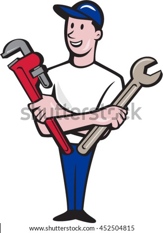 Illustration of a repairman handyman worker wearing hat standing holding spanner and monkey wrench looking to the side viewed from front set on isolated white background done in cartoon style.  - stock vector