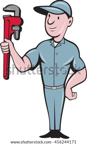 Illustration of a repairman handyman worker wearing hat standing with one hand on hips carrying holding monkey wrench looking to the side viewed from front set on isolated background in cartoon style - stock vector